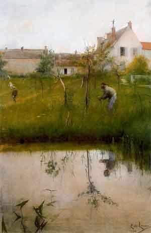 Carl Larsson Gubben och nyplanteringen Aquarel 1883