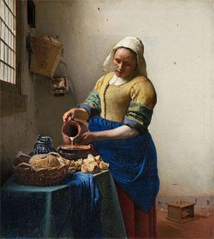 Johannes Vermeer Het melkmeisje 1657-1658 Beroemde Schilderijen