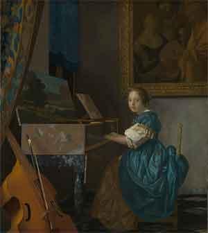 Johannes Vermeer Zittende virginaalspeelster Schilderij National Gallery Londen
