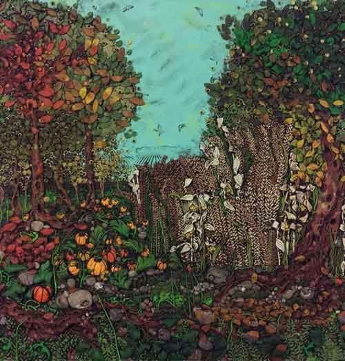Reliëfschilderij Landschap met Bloemen en Bomen