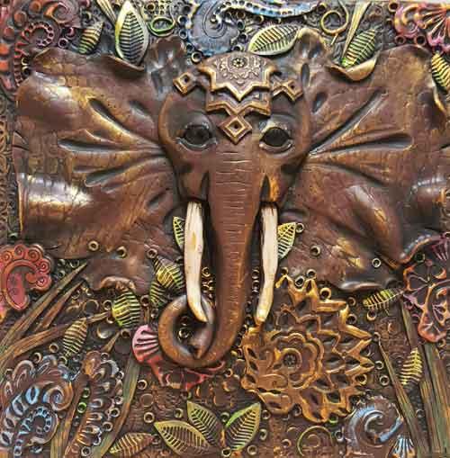 Reliëfschilderij Olifant
