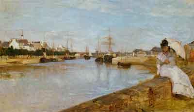 Berthe Morisot Vue du petit port de Lorient Schilderij uit 1869