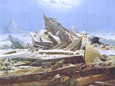Caspar David Friedrich Das Eismeer Schilderij uit 1823-1824