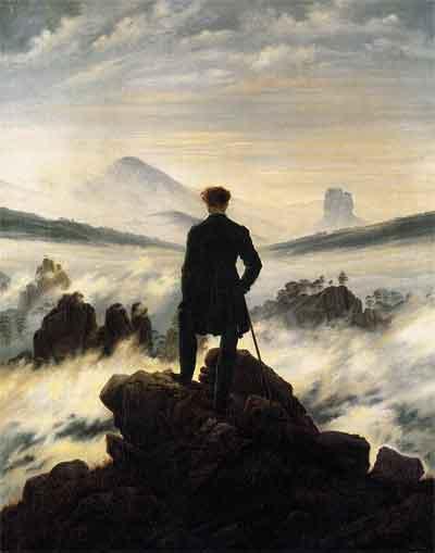 Caspar David Friedrich Der Wanderer über dem Nebelmeer Schilderij uit 1818