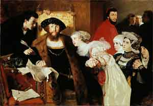 Eilif Peterssen Christian II undertegner dødsdommen over Torben Oxe Schilderij uit 1875-1876