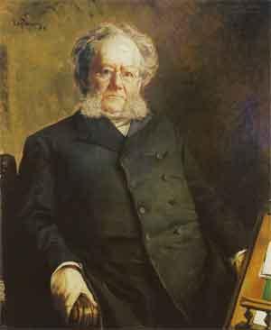 Eilif Peterssen Portret van Henrik Ibsen Schilderij uit 1895