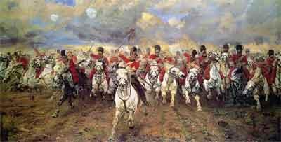 Elizabeth Thompson Scotland Forever! Schilderij uit 1881