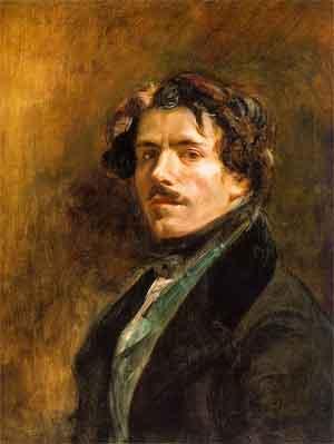 Eugene Delacroix Zelfportret uit 1837 Schilderij