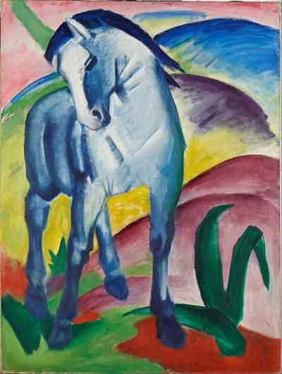 Franz Marc Blaues Pferd I Schilderij uit 1911