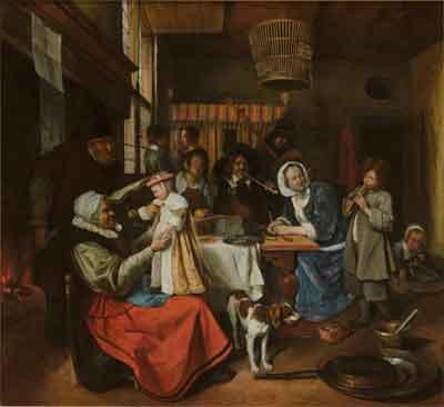 Jan Steen Zo de ouden zongen, zo piepen de jongen Schilderij uit 1663-1665