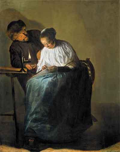 Judith Leyster Man die een vrouw geld aanbiedt Schilderij uit 1631