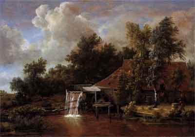 Meindert Hobbema Landschap met watermolen Schilderij uit 1666
