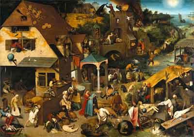 Pieter Bruegel de Oude Nederlandse spreekwoorden Schilderij uit 1559