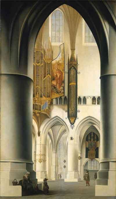 Pieter Jansz. Saenredam Interieur van de Grote of Sint Bavokerk Schilderij uit 1636