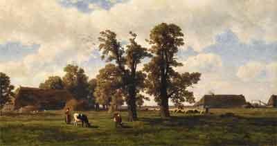Alexander Mollinger Boerin met koeien in Drents landschap Schilderij Drents Museum