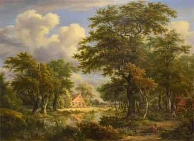 Egbert van Drielst Drents landschap met figuren Schilderij Drenthe 1807