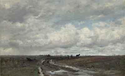 Hendrik Willem Mesdag Landschap nabij Vries met ploegende boer Schilderij Drenthe