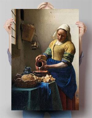 Johannes Vermeer Het melkmeisje Reproductie Poster