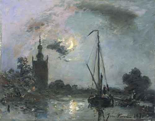 Jongkind Overschie bij maneschijn 1871 Impressionistische schilders