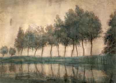 Piet Mondriaan Rij met bomen langs het Gein Aquarel uit 1905-1907