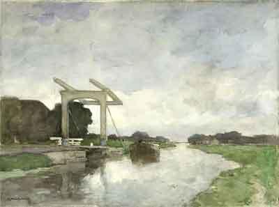 Jan Hendrik Weissenbruch Ophaalbrug bij Noorden Aquarel