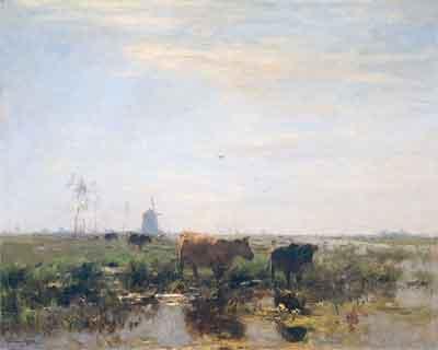Willem Maris Weidelandschap met koeien aan het water Schilderij uit 1878