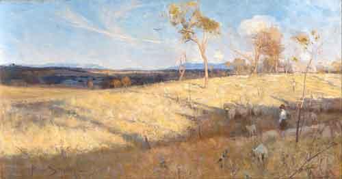 Arthur Streeton Golden summer Eaglemont Schilderij uit 1889