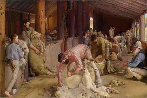 Tom Roberts Shearing the Rams Schilderij uit 1890
