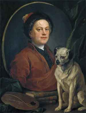 William Hogarth Schilderij The Painter and His Pug Zelfportret uit 1745