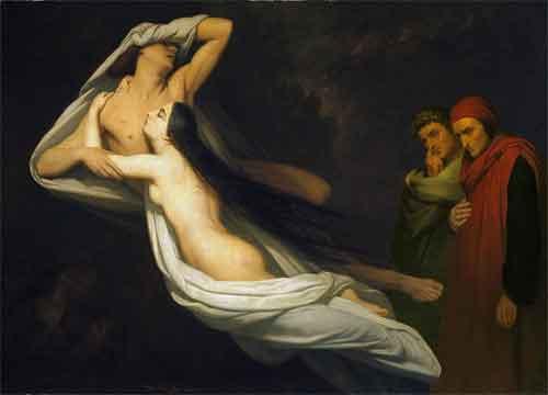 Ary Scheffer Francesca da Rimini en Paolo Malatesta aanschouwd door Dante en Vergilius